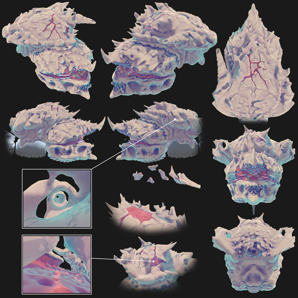Exterior elements of the Leviathan. 3D model and shaders by Steve Zapata. Click to enlarge.
