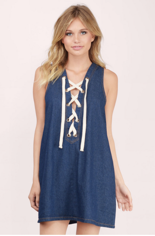 Tie-Front Denim Dress by TOBI