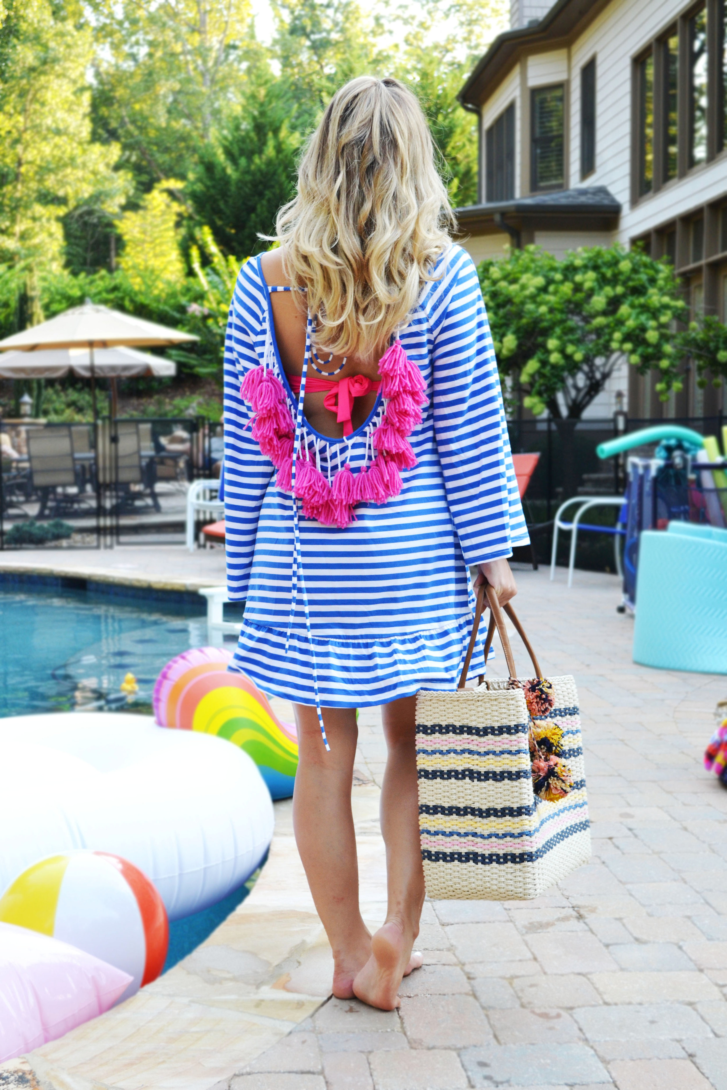 Featuring:  She In Tassel Shift Dress  //   Dillards Pom Pom Tote- Shop Similar   //  Unicorn Pool Float