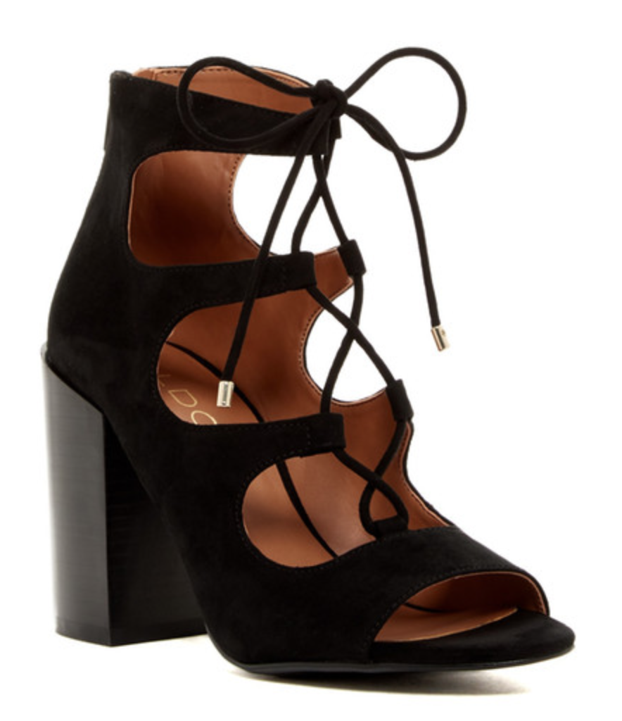 Aldo Black Lace-Up Bootie