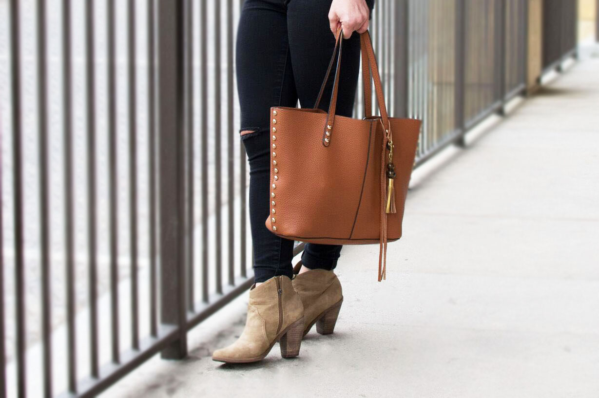 Featured:  Bar III Ribbed Lace-Up Sweater  //  William Rast Black Distressed Skinny Jeans  //  Rebecca Minkoff Tote Bag  //  Dolce Vita Booties