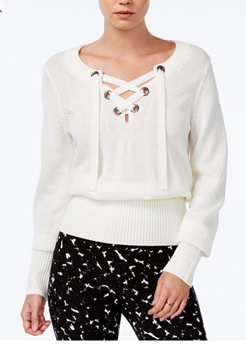 Bar III Lace-Up Sweater