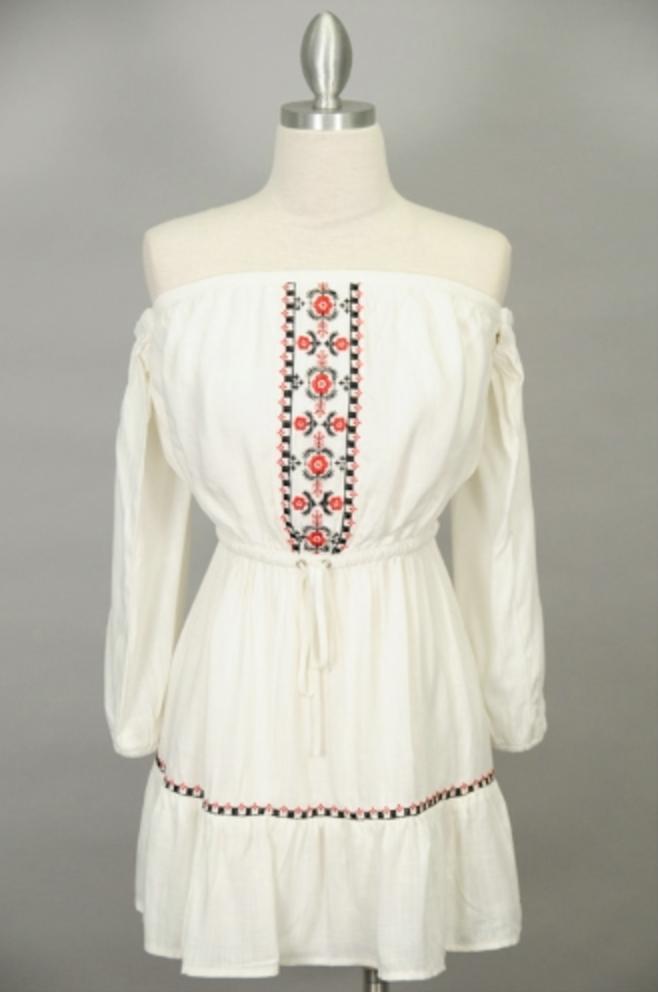 Sage Clothing Floral Embroidered Off the Shoulder dress