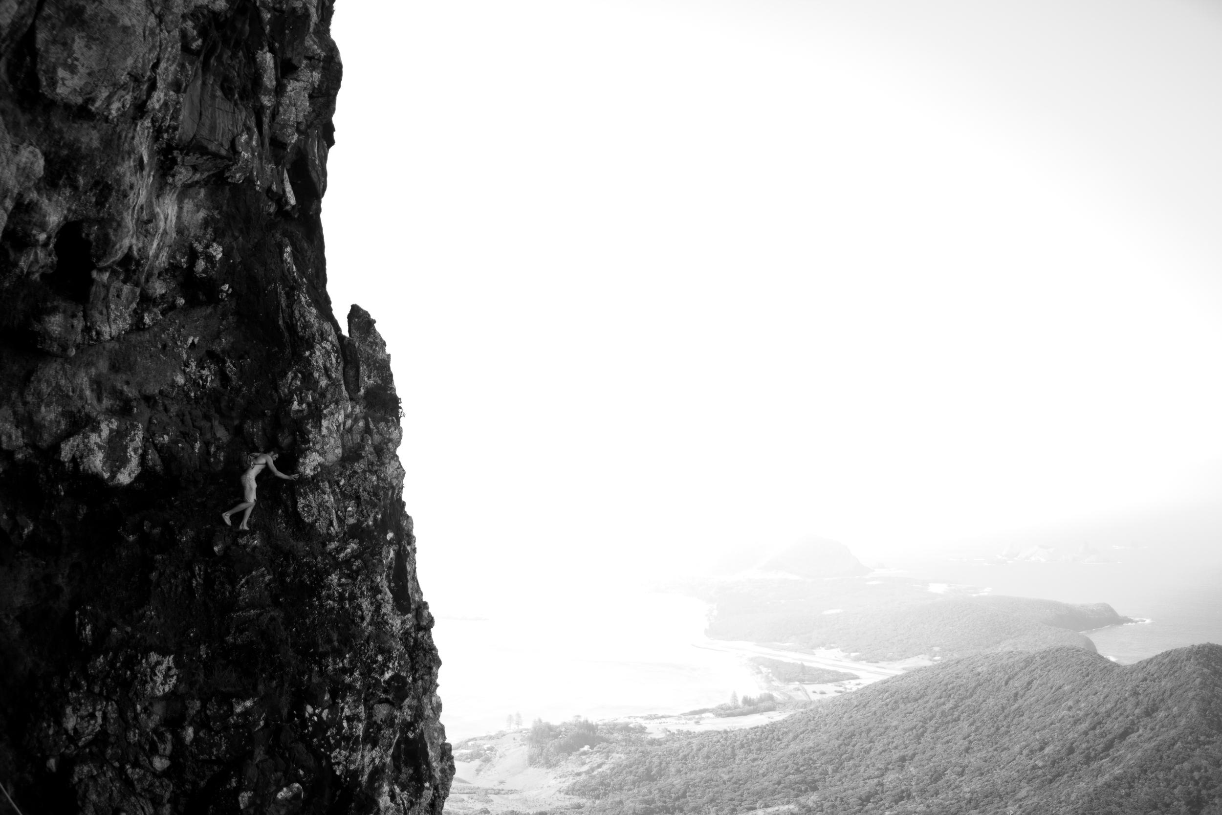 Where's Wally.... Me, climbing the cliffs of Mount Gower. Photograph: Julia Wheeler Photography