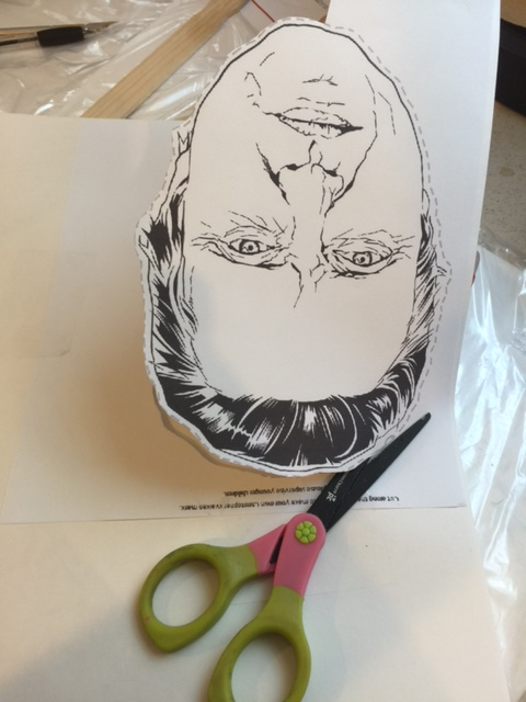 step 1 print out christopher walken mask then glue to poster board