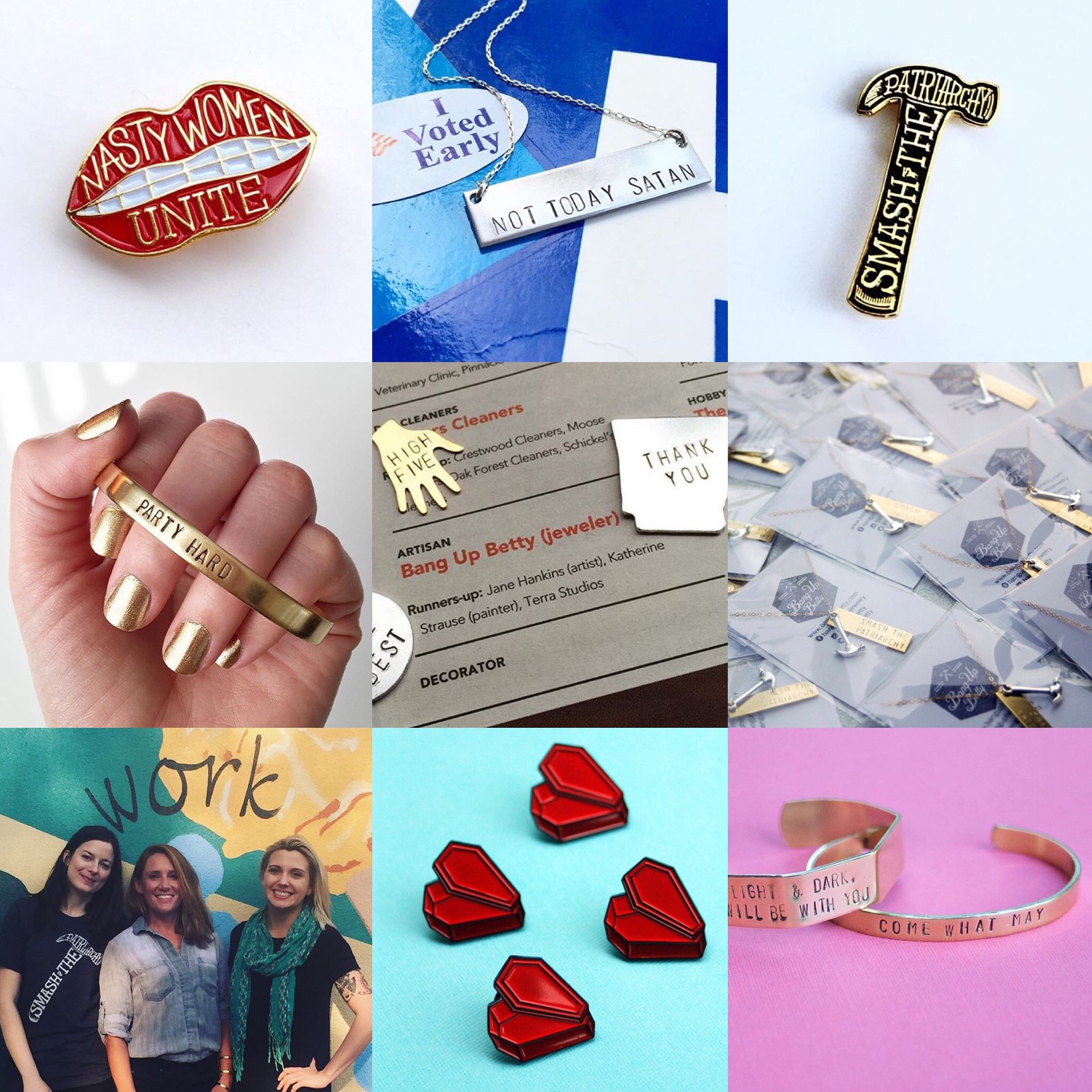 Creating the Nasty Women Unite Pin, Not Today Satan Necklace, Smash the Patriarchy Pin, and custom brass jewelry to benefit Arkansas nonprofits were just a few highlights in this feminist Arkansas jewelry maker's year. Thanks for your support in 2016!