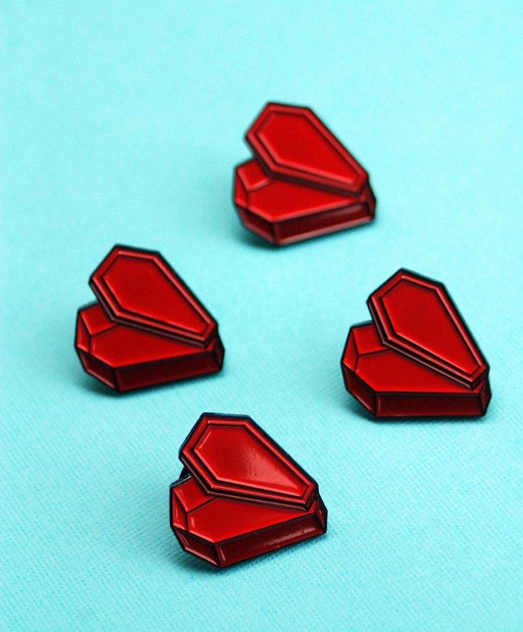 World-famous illustrator Sally Nixon helped me bring my coffin heart pin design to life.