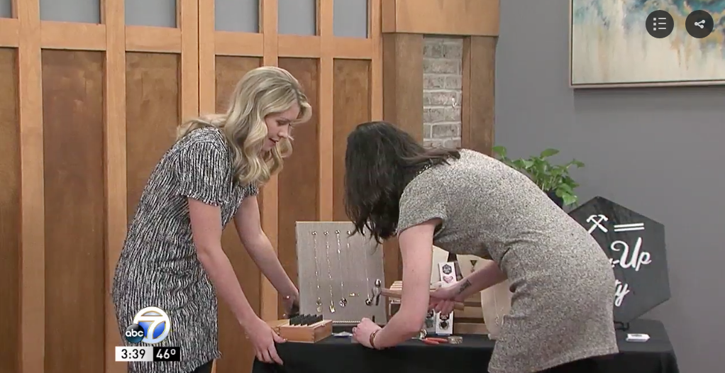 Arkansas jewelry designer Stacey Bowers of Bang-Up Betty demonstrates how she makes handmade stamped jewelry.