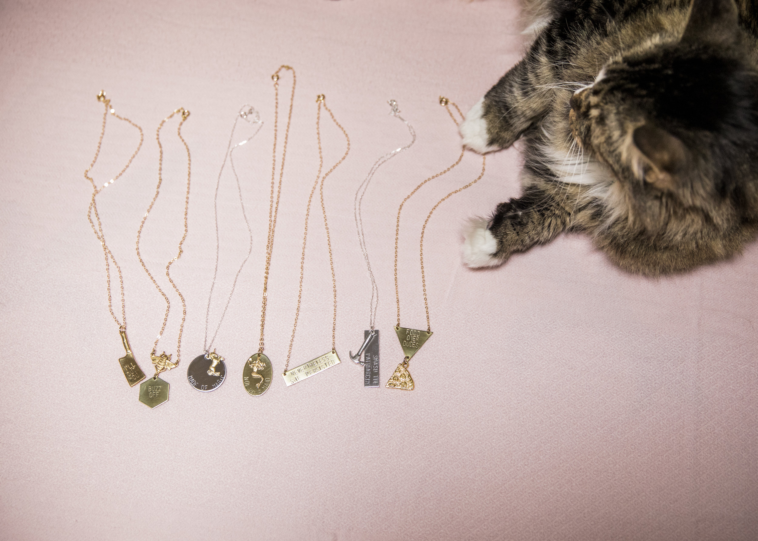 Betty the boy cat poses with necklaces by Arkansas jewelry designer Stacey Bowers of Bang-Up Betty jewelry.