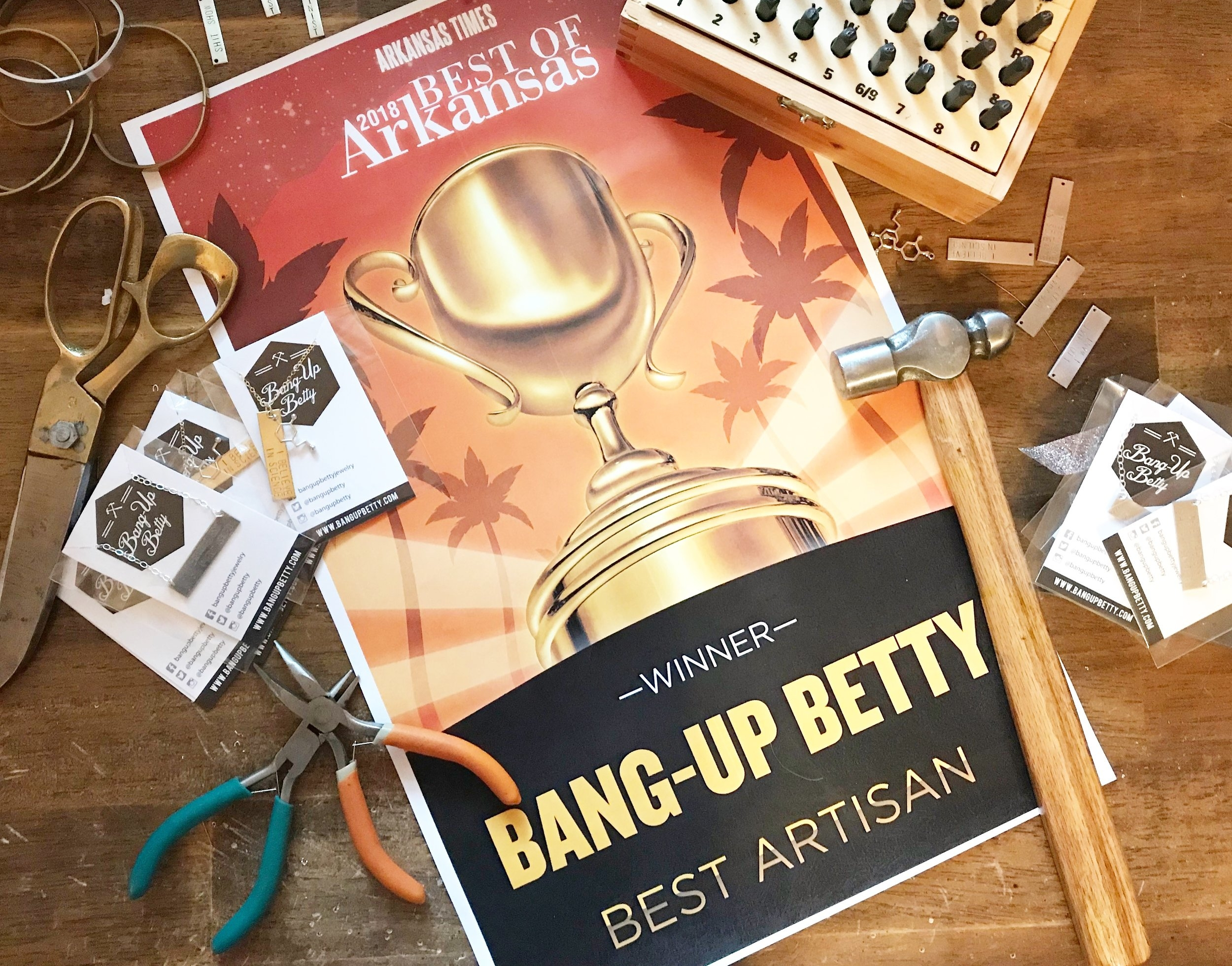 Bang-Up Betty jewelry voted best artisan crafter in the Arkansas Times's best of Arkansas