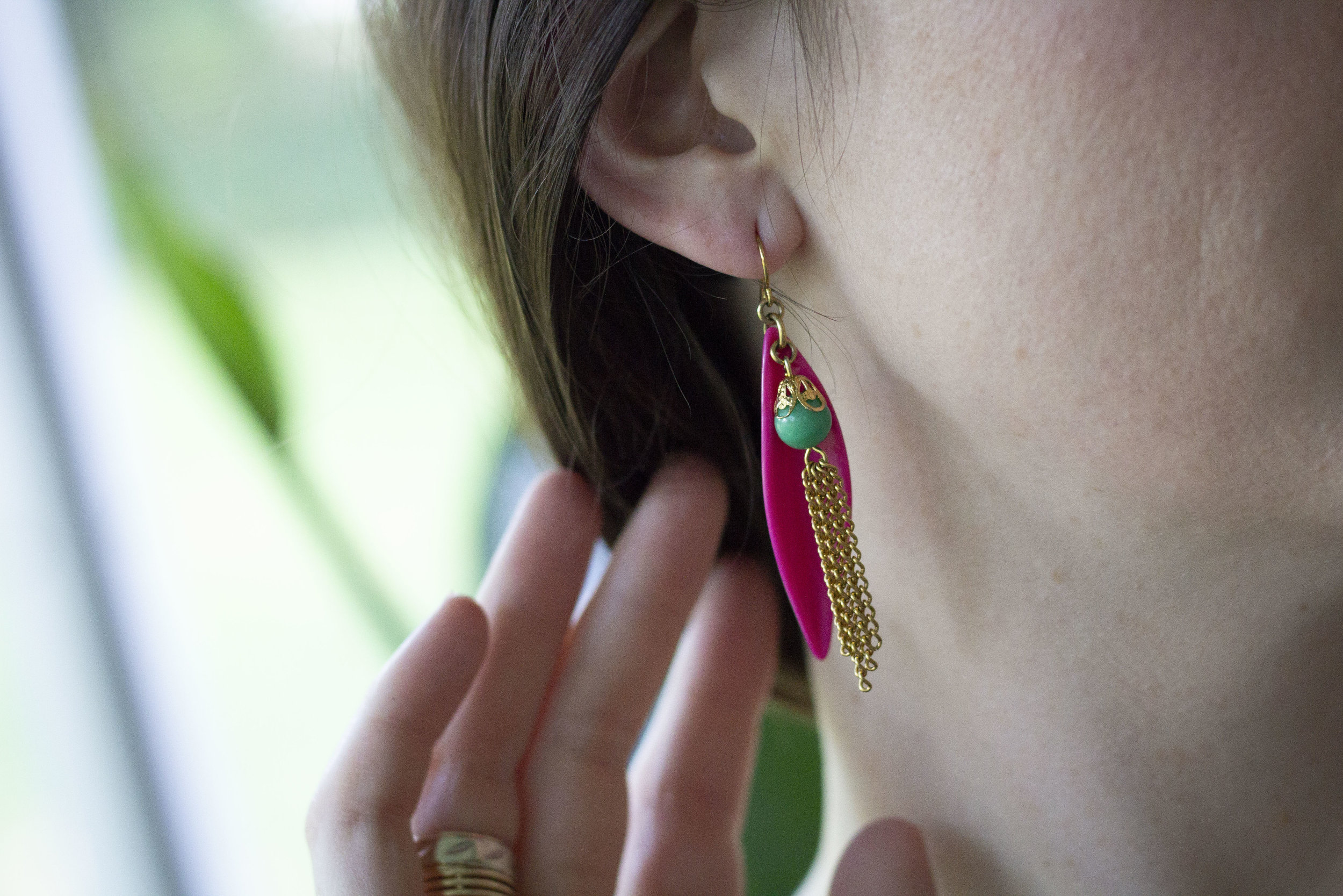 "Pink Petal Earrings with Vintage Tassels , part of Bang-Up Betty's  ""Stay Gold"" collection of retro jewelry inspired by The Golden Girls"