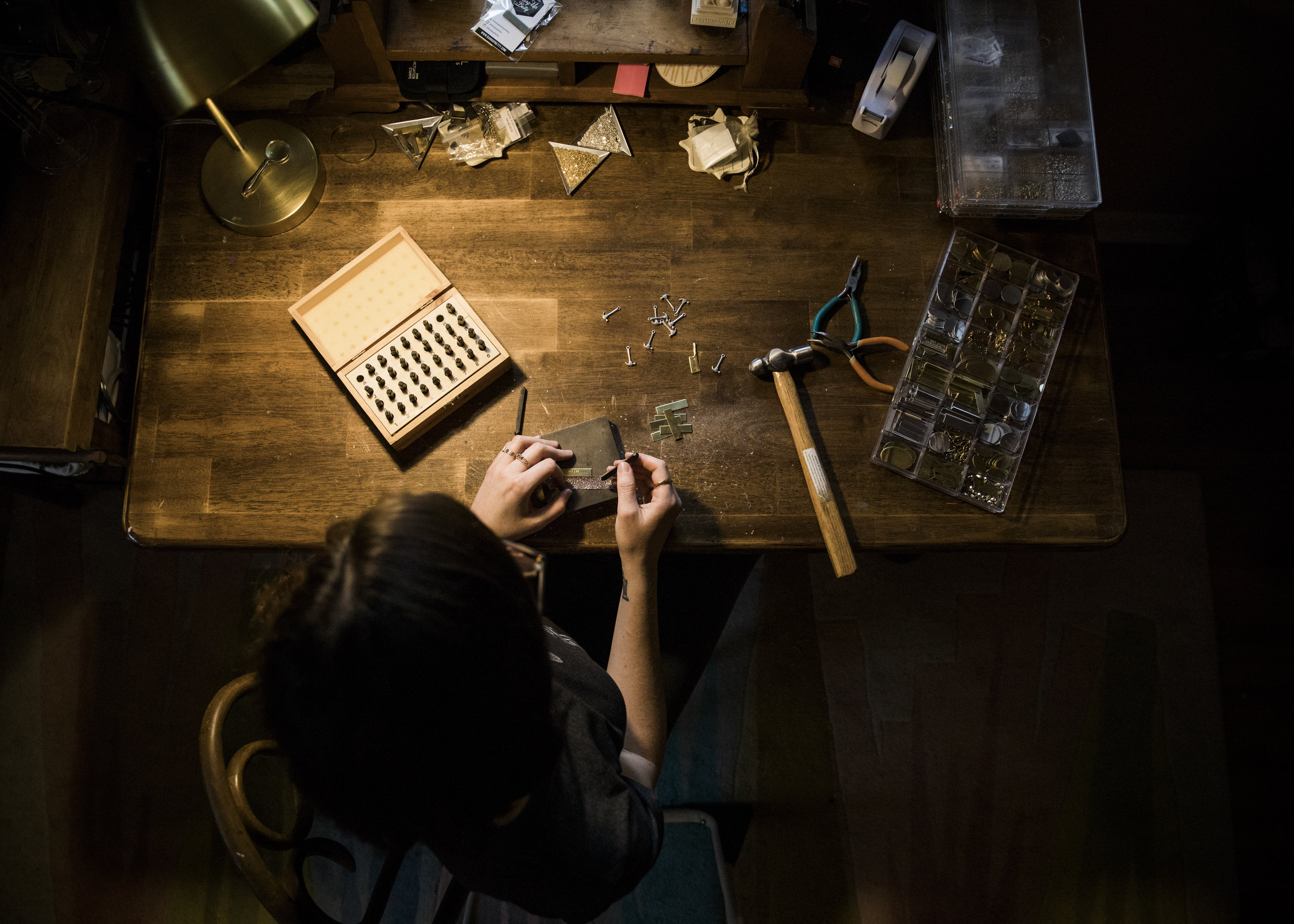 A glimpse inside the studio of artisan jewelry designer Bang-Up Betty, who will be stamping jewelry on location at two Little Rock boutiques in December.