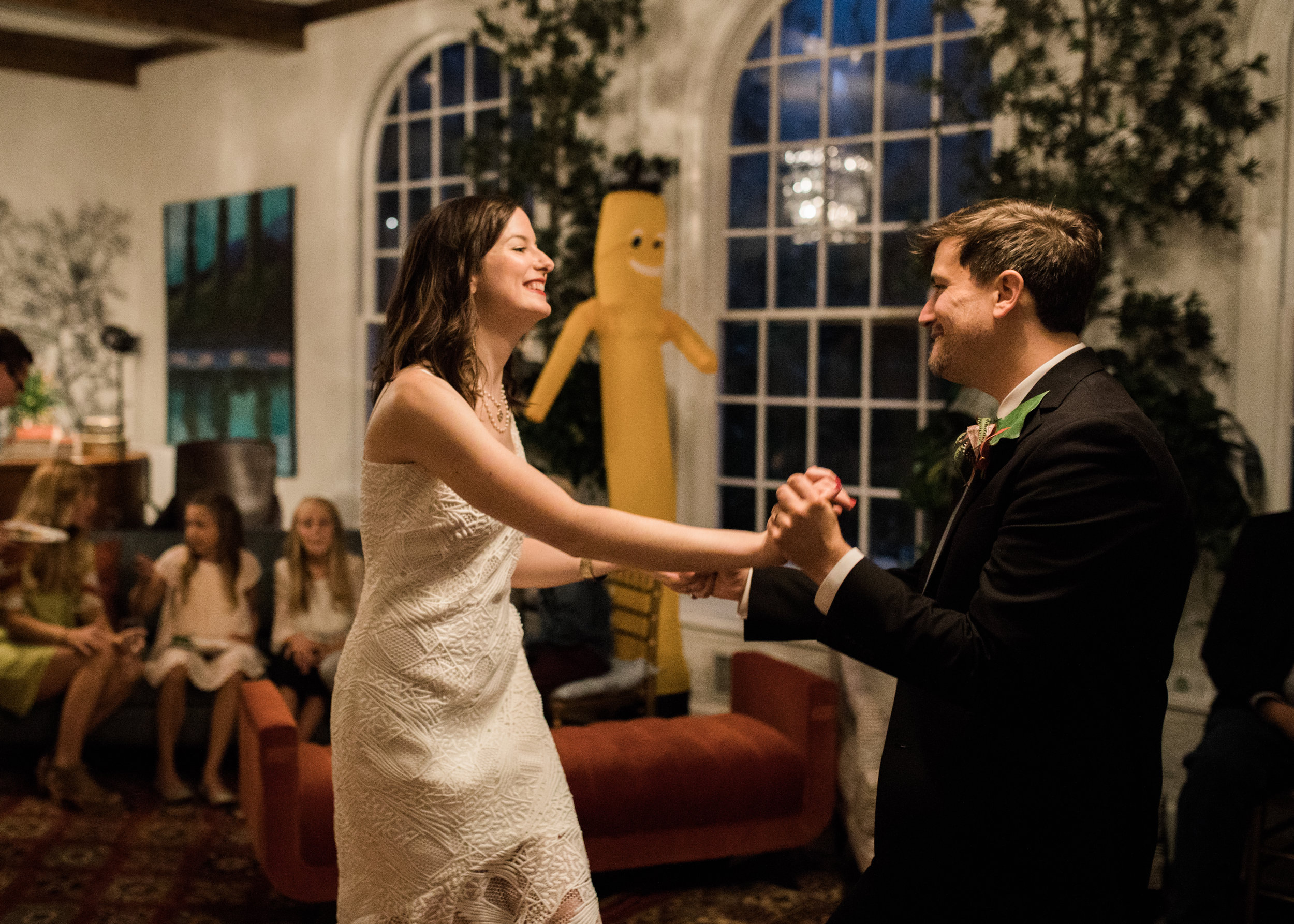 The inflatable dancing man at our wedding at the Edgemont House in North Little Rock, Arkansas, may have been more of a hit than the bride and groom were. Photo by Katie Childs.