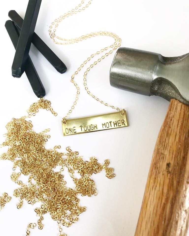 One Tough Mother. This necklace by Bang-Up Betty benefits the Arkansas chapter of Moms Demand Action.