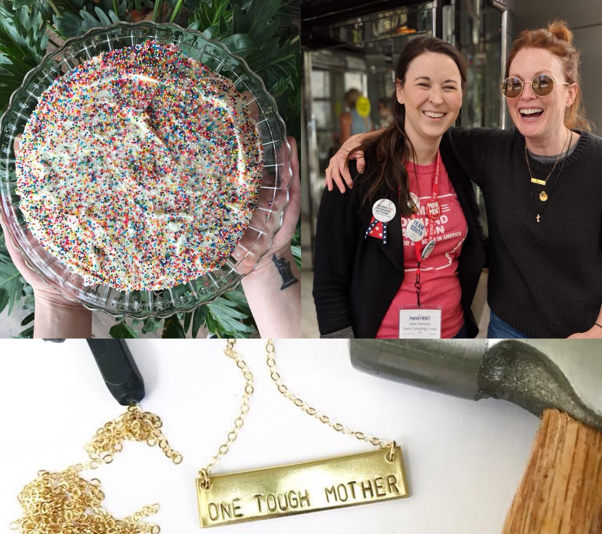 Bang-Up Betty has been stamping handmade jewelry in Arkansas since 2013. Celebrating a 5th anniversary, seeing Julianne Moore wear my jewelry and supporting great charitable causes were among some of the highlights of this Arkansas jewelry maker's 2018.