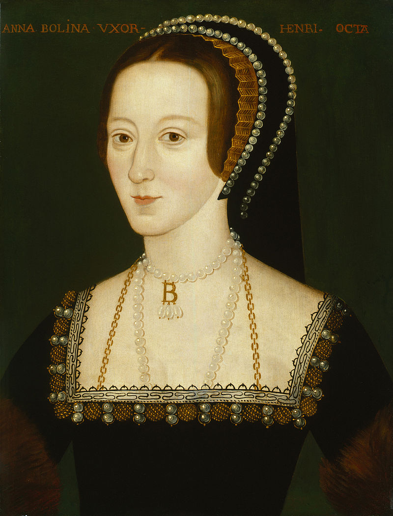 Late Elizabethan portrait of Anne Boleyn wearing her letter B necklace.