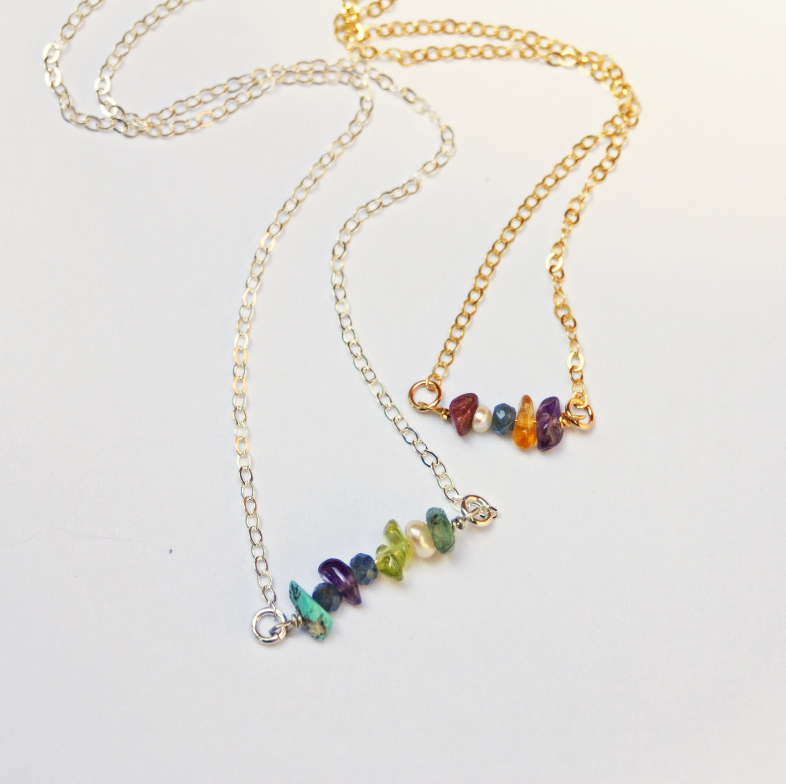 Choose your stones to create your own  custom multi-stone birthstone necklace  and represent everyone in your brood.