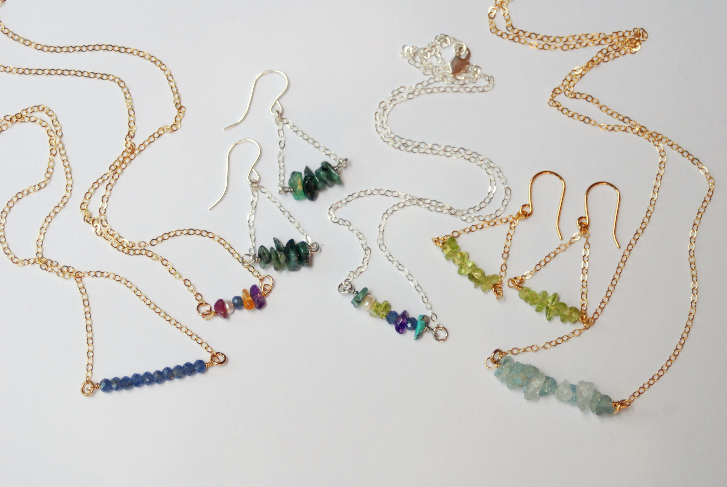 Simple, elegant birthstone strand necklaces and earrings make perfect Mother's Day, birthday and bridesmaid gifts this spring. You can even select your own stones to create a custom multi-stone birthstone strand necklace.
