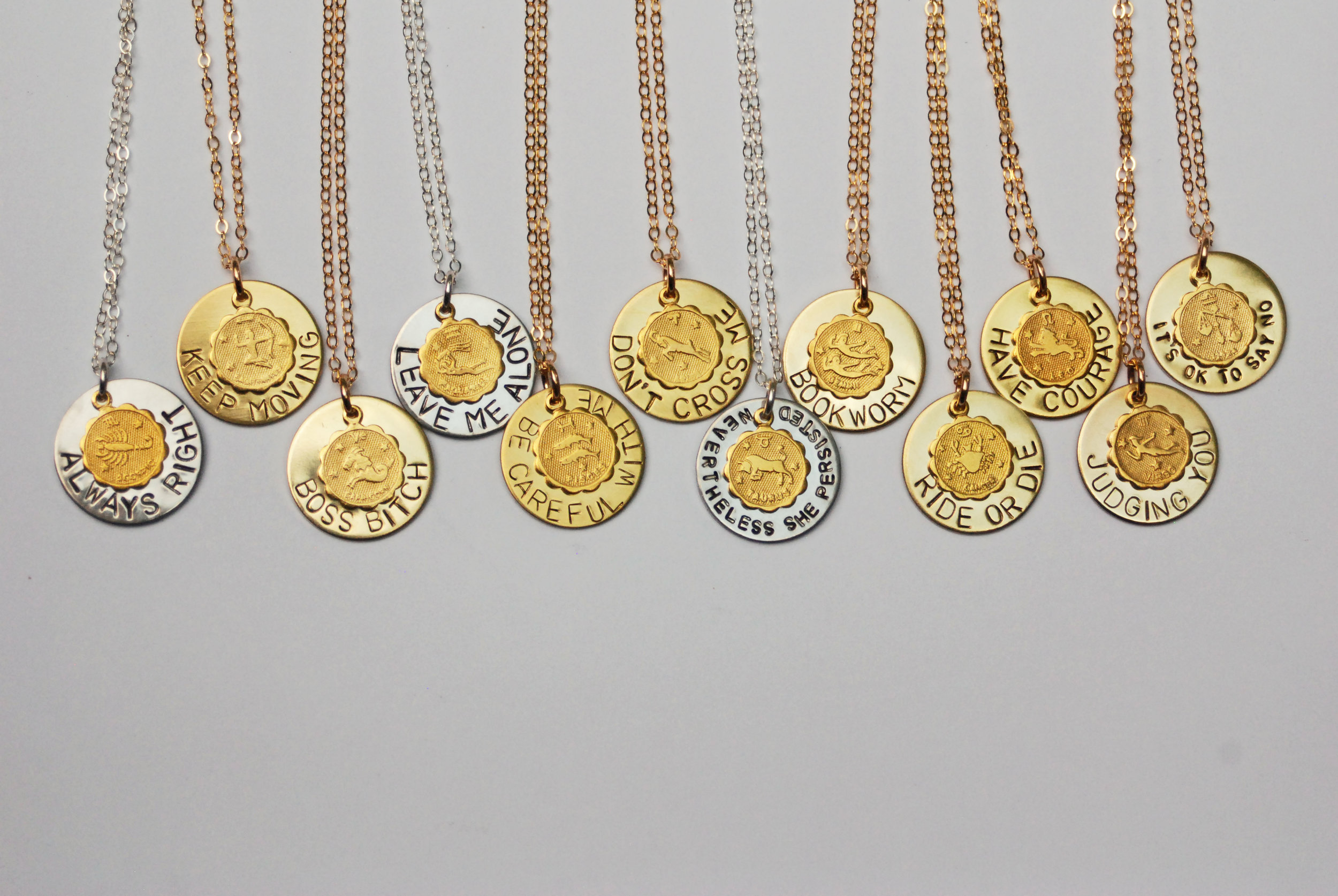 Wear the best, snarkiest, and truest pieces of your sign proudly with a customizable zodiac necklace. Choose from my crafted phrases or come up with your own  here .