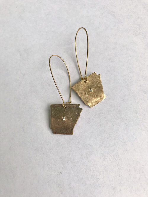 Handmade bronze pendant necklace and matching earrings
