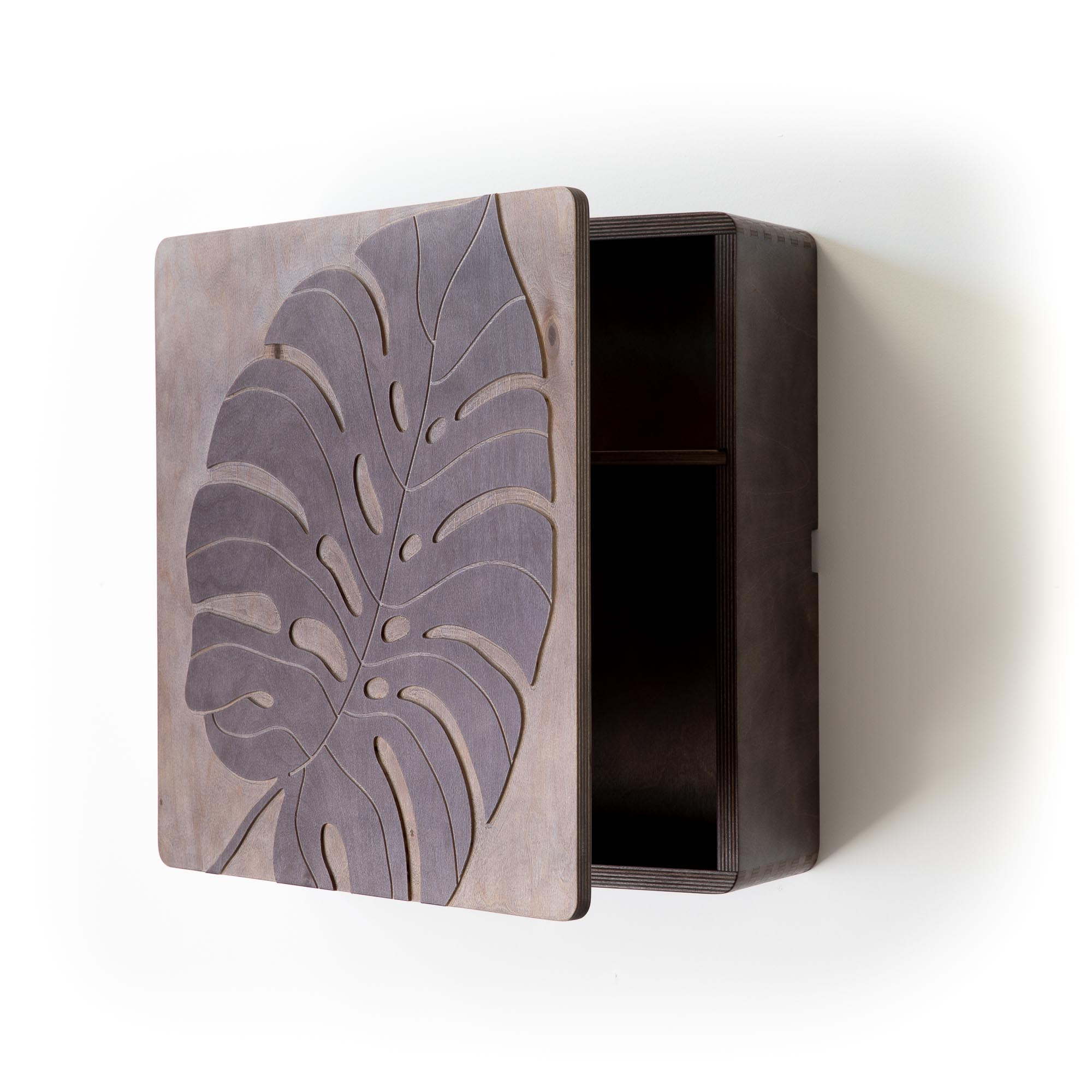 Wall mounted low profile storage cabinet