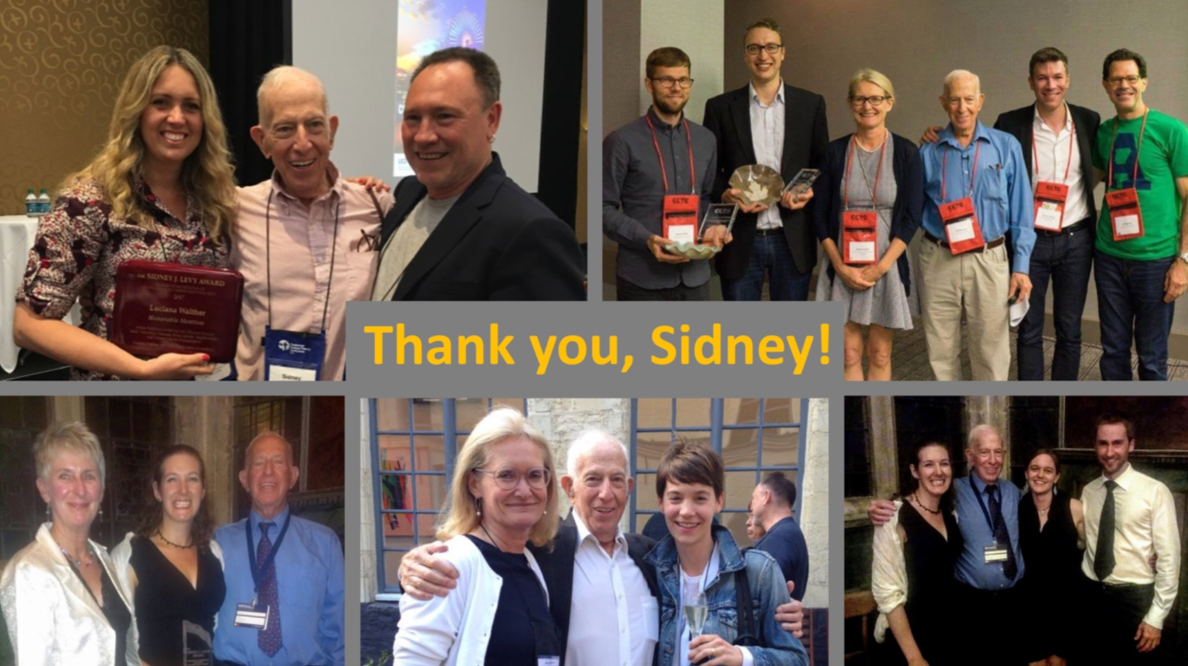 Sidney with past Levy Award winners and their supervisors