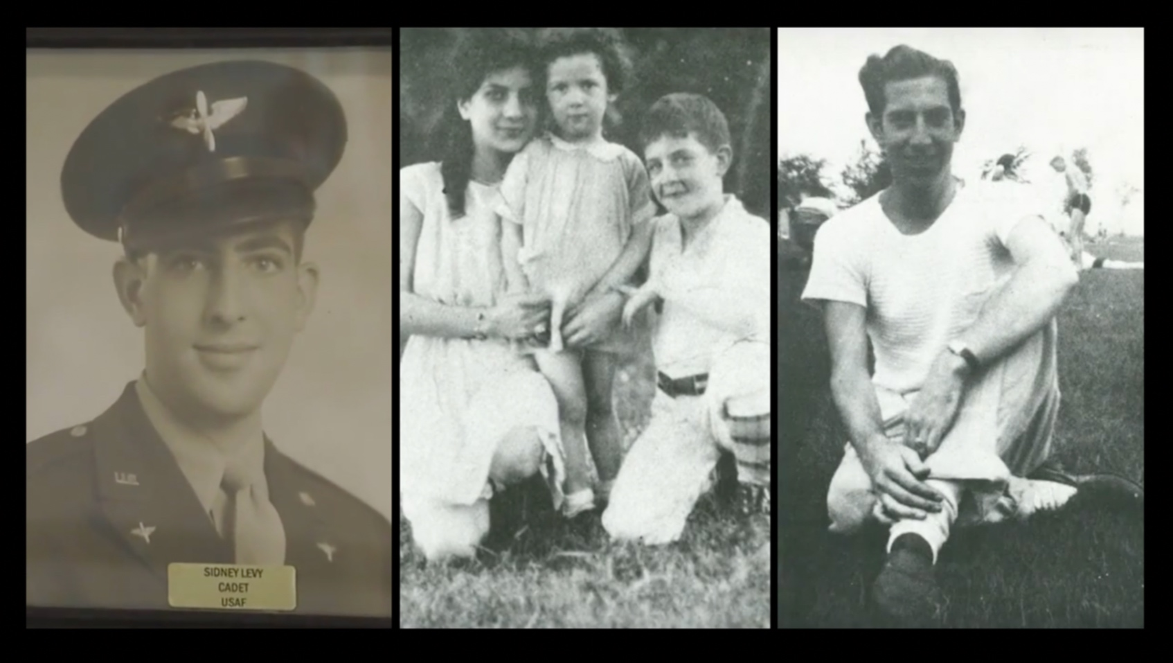 Sidney Levy as a USAF air cadet (left), with his mother and sister (middle), and as a young man