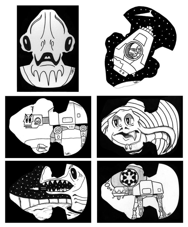 Star Wars Galaxy 6 Die-Cut Sketch Cards