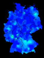 Grippefälle in Deutschland 40. Woche 2017. Blau = Null