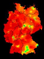 Grippefälle in Deutschland 8. Woche 2018 Rot = extrem hoch
