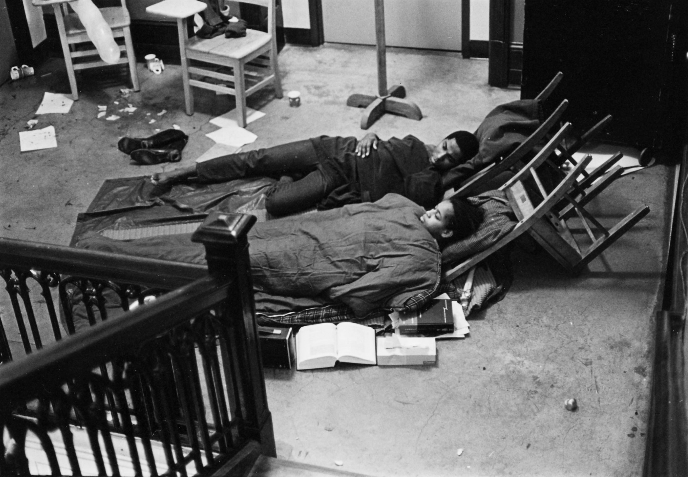 Members of the Black Student Union in sleeping bags in Eliot Hall during the BSU takeover of the administrative offices in 1968 courtesy of Special Collections, Eric V. Hauser Memorial Library, Reed College.