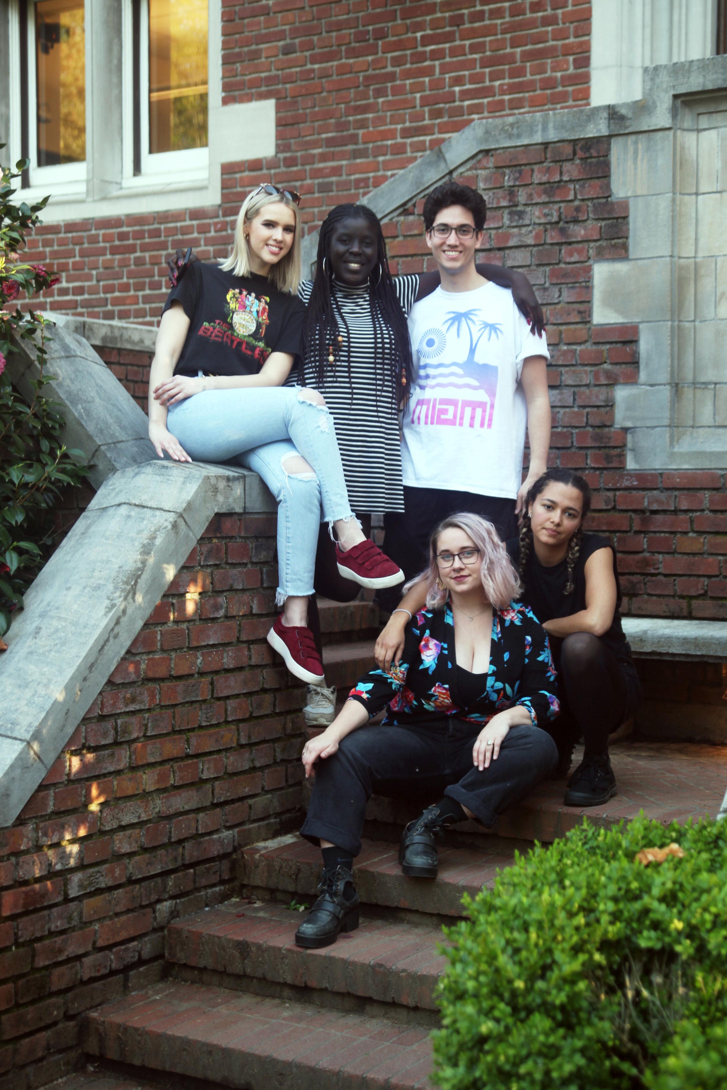 Renn Fayre Czars (back row) Kieran Nugent, Aminta Gueye, David James, (front row) Brenna Intemann-Milligan, and Leensa Gheneti. Photo by Claire Pask.