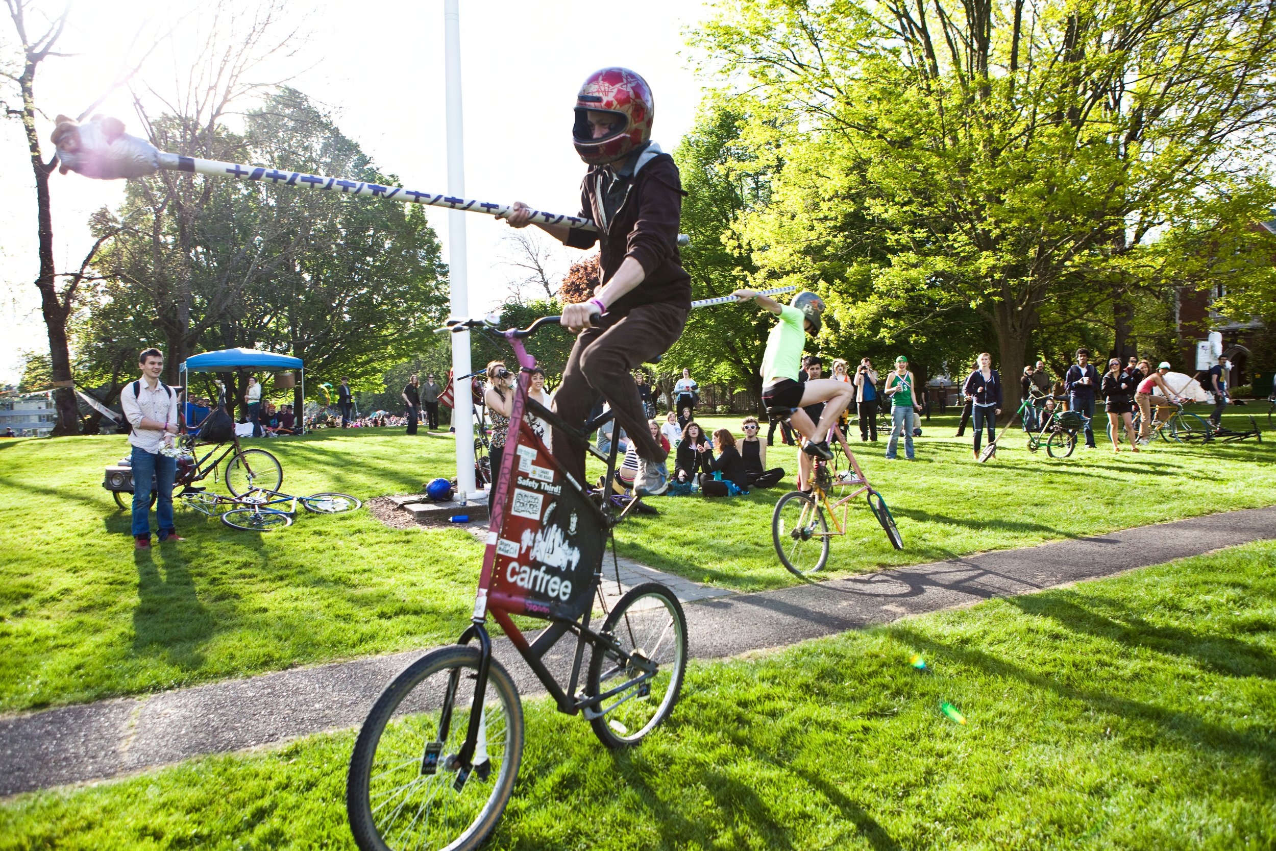 Student bike jousting during the 2010 Renn Fayre. Photo courtesy of Special Collections, Eric V. Hauser Memorial Library, Reed College.