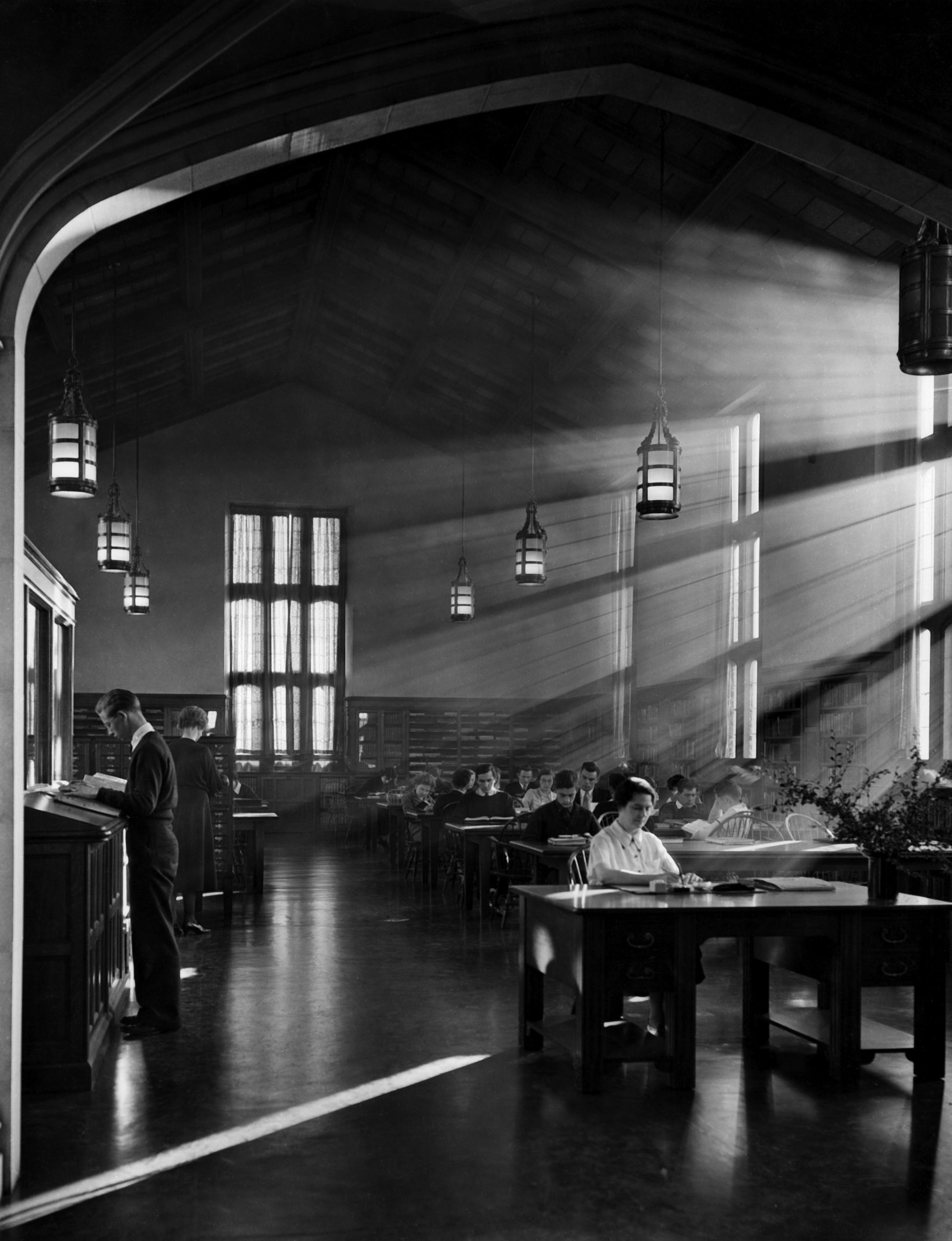 The Hauser Memorial Library interior, ca. 1930.jpg