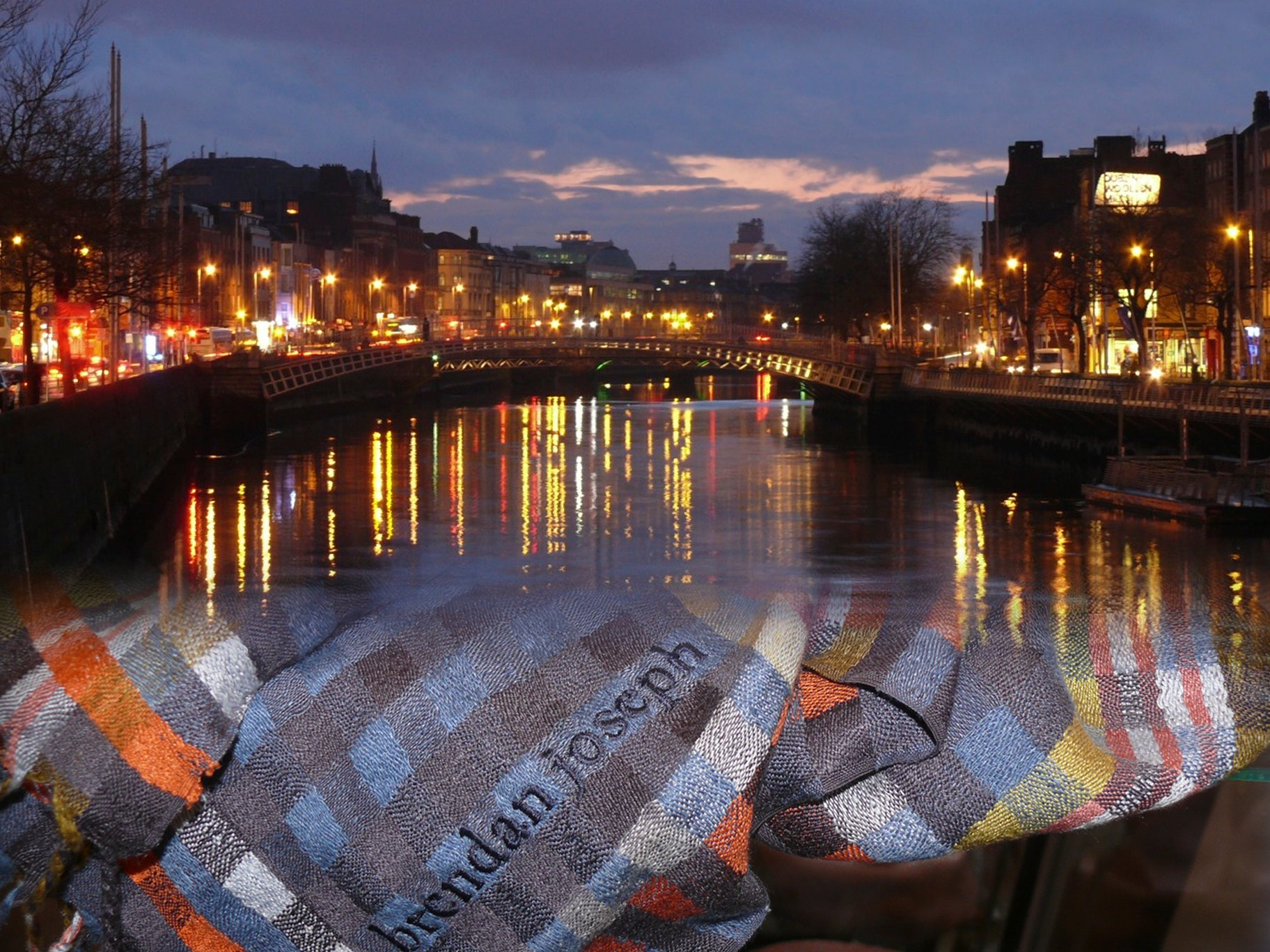 The River Liffey at Night, Dublin, Ireland