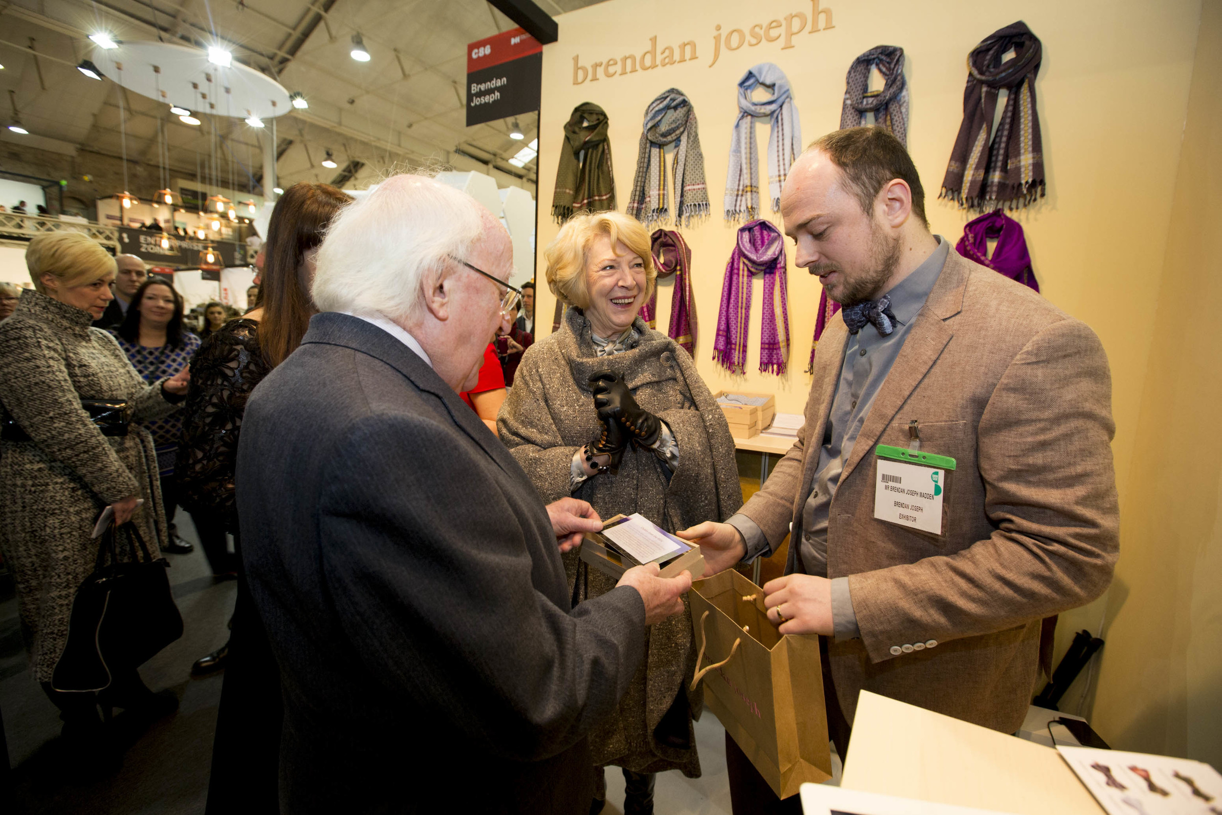 With President of Ireland, Michael D Higgins and his wife, Sabina Higgins at Brendan Joseph, Stand C86, Showcase 2015 in the RDS, Dublin.