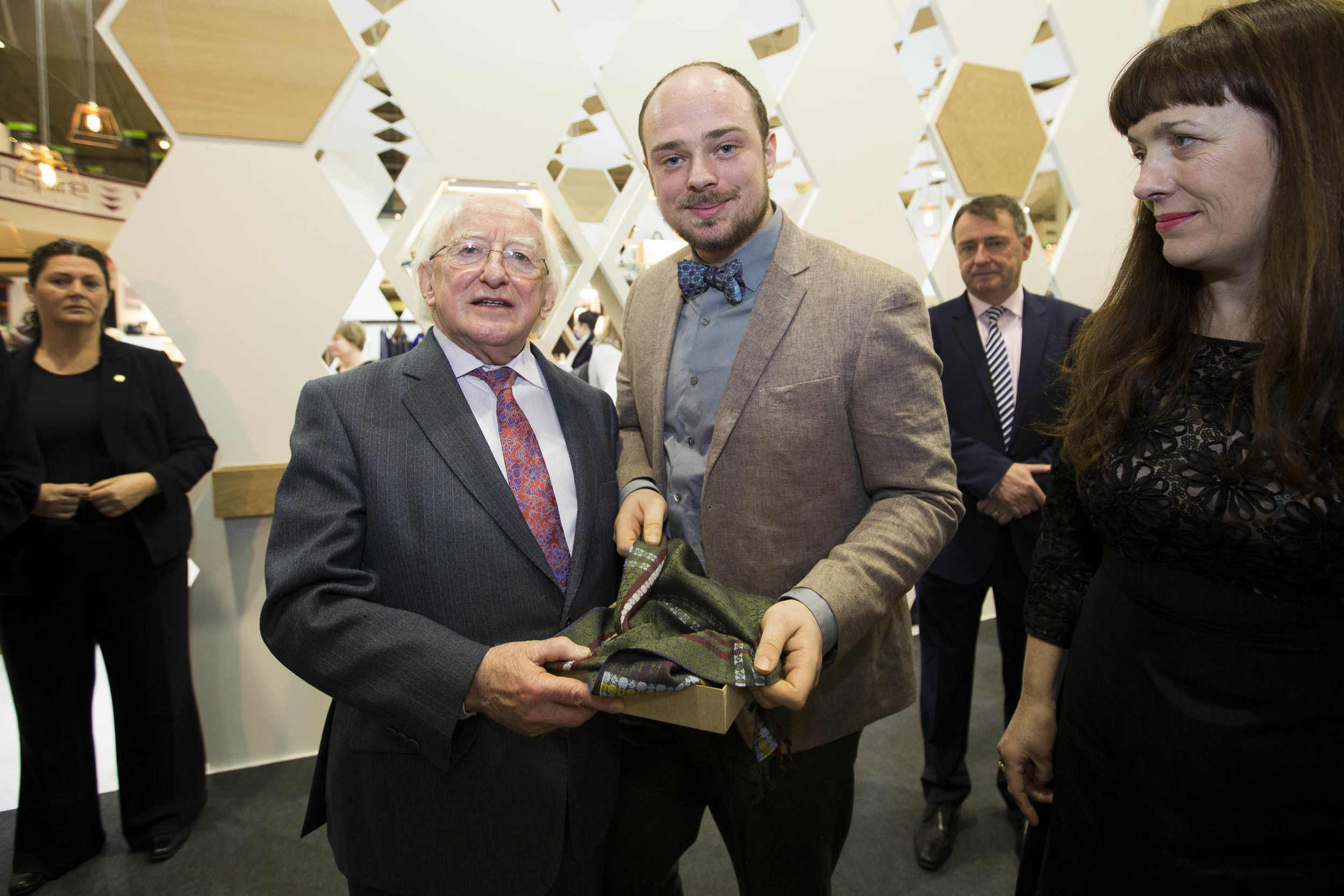 With President of Ireland, Michael D Higgins and 'Dublin from the Hills' Woven Silk Scarf, official gift from DCCOI at opening of Showcase 2015.