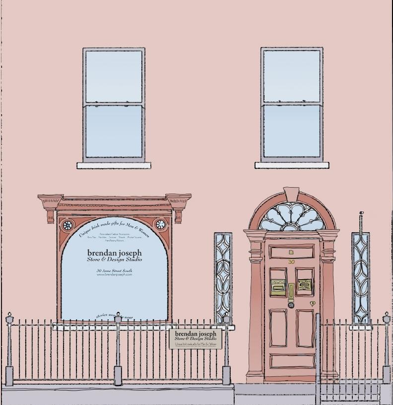 Brendan Joseph's illustration of the new shop front on South Anne Street, Dublin 2.