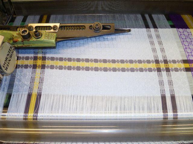 On the loom: Blue silk woven scarf, 'Sandymount Strand' by Irish designer Brendan Joseph.