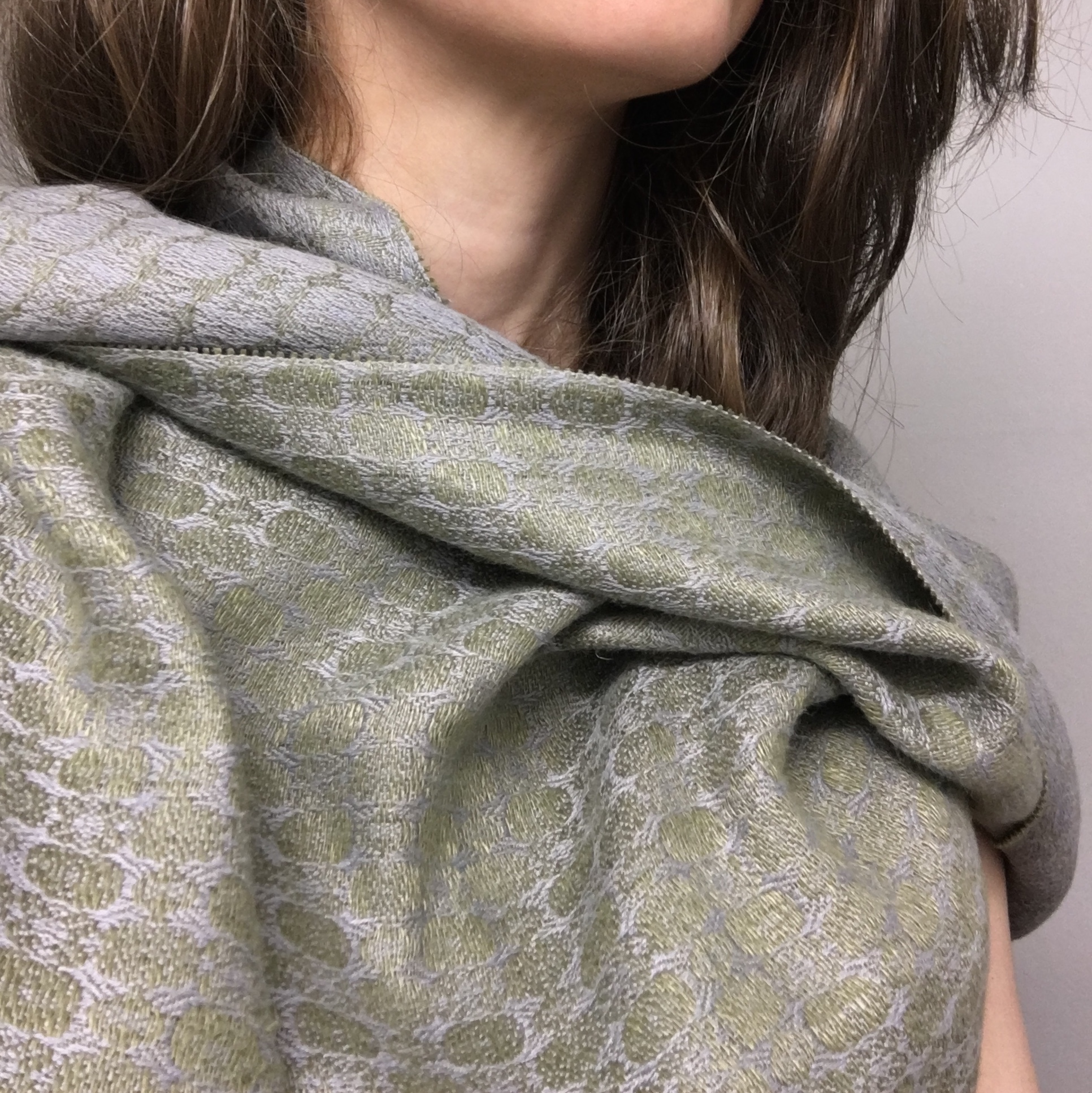 Hand-dyed green and grey silk and linen shawl by Brendan Joseph