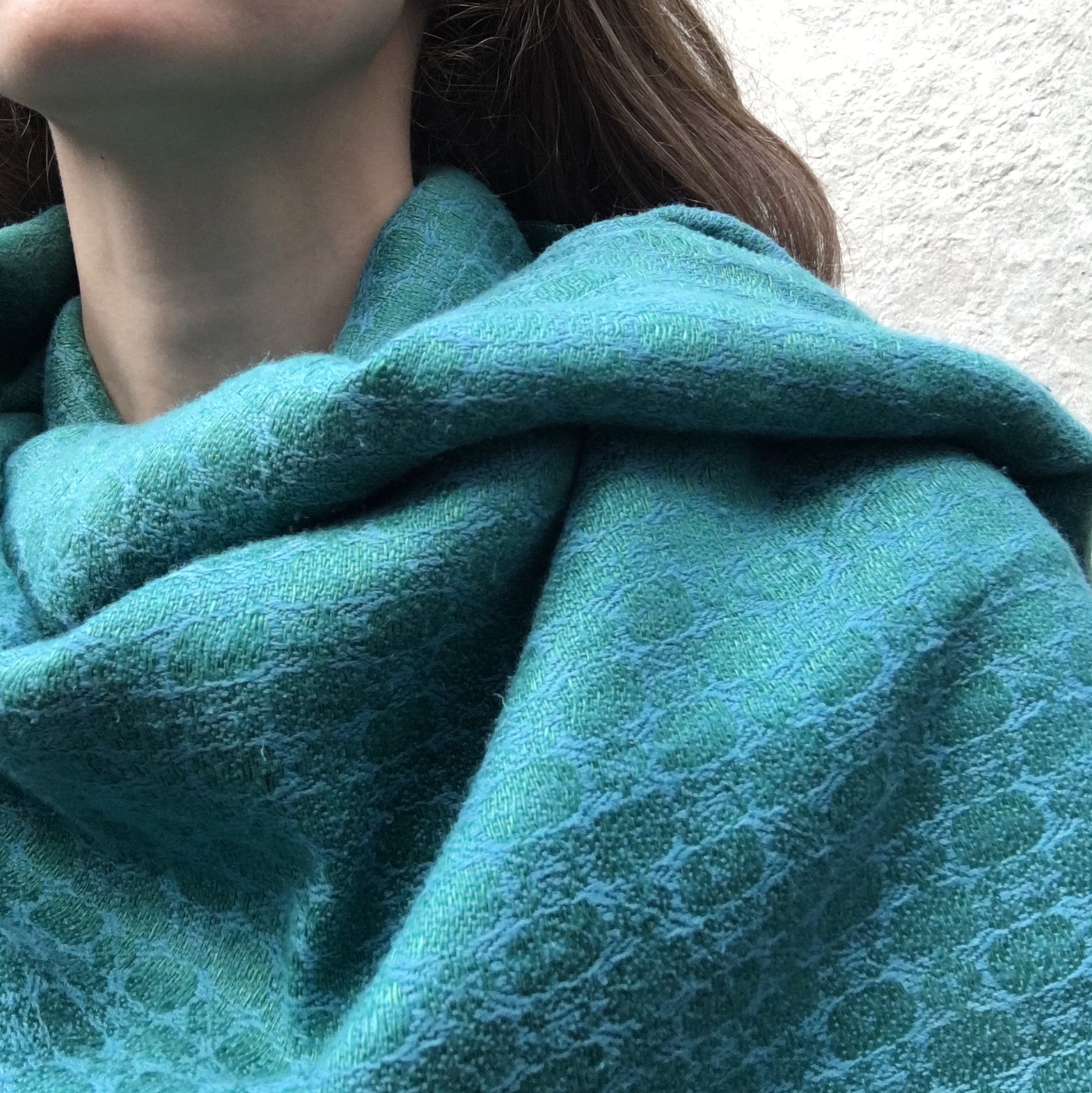 Emerald green/turquoise hand-dyed silk and linen shawl by Irish artist Brendan Joseph