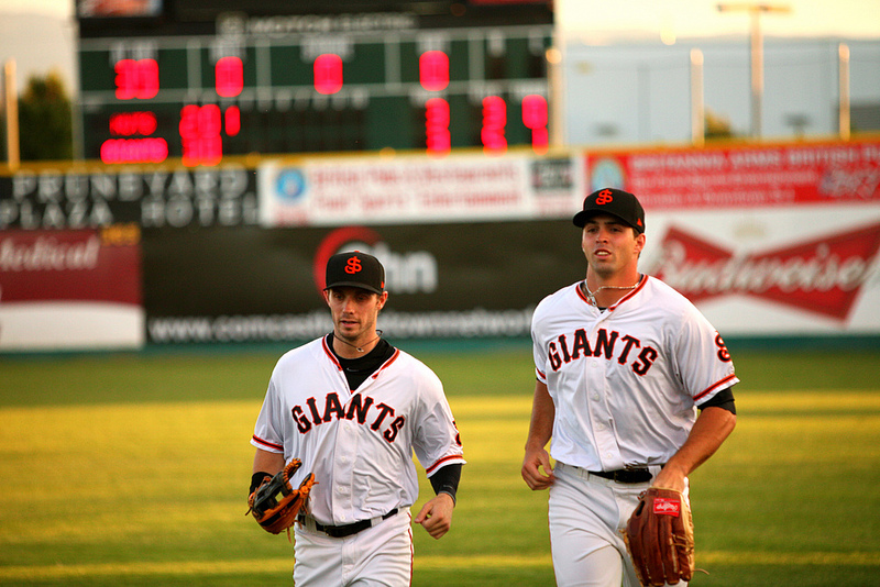 Ryan Lollis and Devin Harris with the San Jose Giants in 2013. (Conner Penfold / Giant Potential)