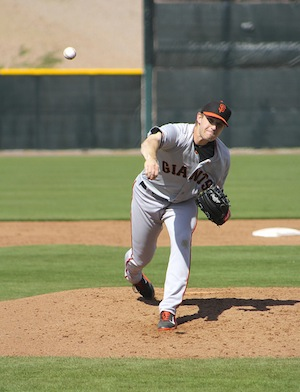 Chris Stratton during Spring Training in 2014 (Conner Penfold/Giant Potential)