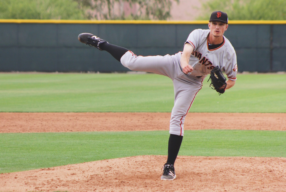 Right-hander Phil Bickford pitching during minor league spring training in Mesa, Ariz. (Conner Penfold/Giant Potential)