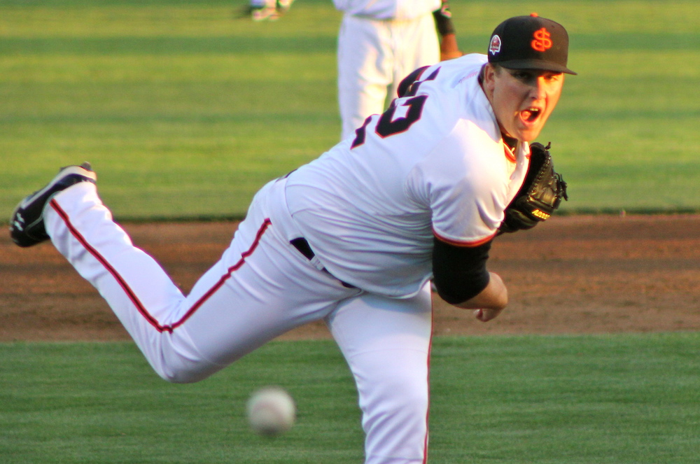Clayton Blackburn pitching for the San Jose Giants in 2013. (Conner Penfold/Giant Potential)