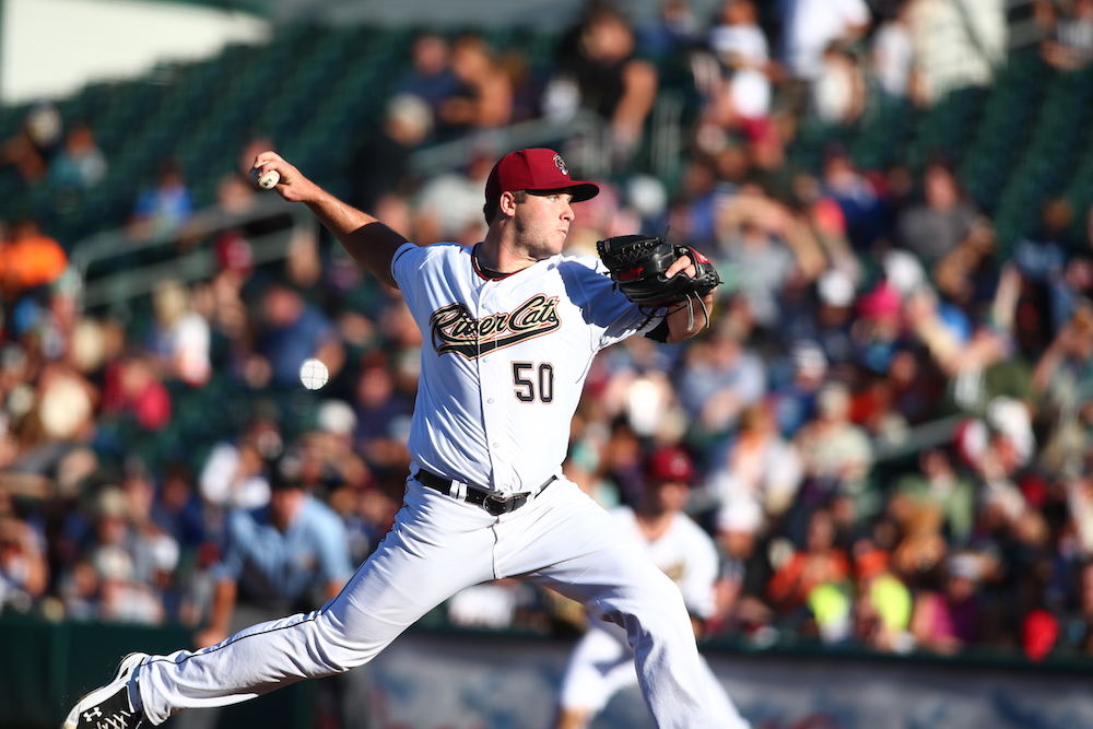 Clayton Blackburn pitching for the Sacramento River Cats in September of 2015. (Ralph Thompson/MiLB.com)