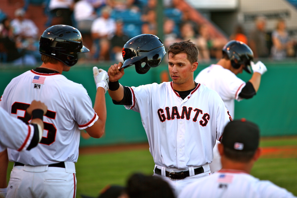 Joe Panik with the San Jose Giants in 2012. (Conner Penfold/Giant Potential)