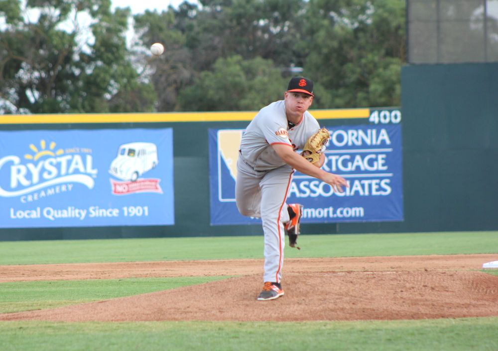 Martin Agosta throwing for the San Jose Giants on June 11, 2016 in his last start before being placed on the disabled list with arm tightness. (Conner Penfold/Giant Potential)