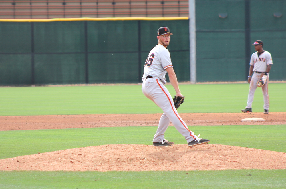 Left-hander Conner Menez threw two innings in Wednesday's spring training opener as part of the High-A team. (Conner Penfold/Giant Potential)