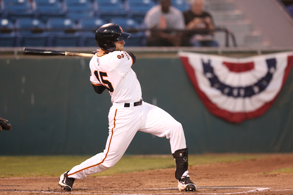 Heath Quinn promoted late season in 2016 to San Jose, where he played four regular season games, as well as multiple playoff games for the Giants. (Tim Cattera/MiLB.com)